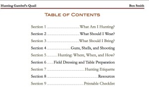 Quail Hunting Ebook Table of Contents